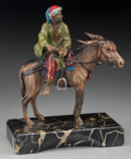 Bronze:European, An Austrian Cold Painted Bronze Figural Group on Marble Base:Moorish Man Riding a Donkey, mid late 20th century...