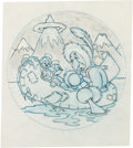 "Animation Art:Concept Art, Hank Porter - WWII USS Besboro Insignia ""Eskimo and Seals"" Design (Walt Disney, c. 1940s)...."