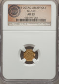 California Fractional Gold , 1853 $1 Liberty Octagonal 1 Dollar, BG-530, R.2, AU53 NGC. Aprominent rim cud appears at the right side of the obverse on ...