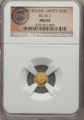 California Fractional Gold , 1871 25C Liberty Round 25 Cents, BG-812, Low R.5, MS64 NGC. Theobverse of this Choice Mint State example has mirrored fiel...