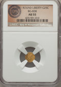 California Fractional Gold , 1871 25C Liberty Round 25 Cents, BG-838, R.2, AU55 NGC. This typeissue has microscopic scratches on its subdued orange-gol...