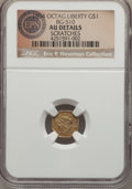 California Fractional Gold , 1854 $1 Liberty Octagonal 1 Dollar, BG-510, Low R.5, -- Scratches-- NGC Details. AU. Pale yellow-gold surfaces with two pr...