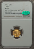 Commemorative Gold, 1922 G$1 Grant Gold Dollar, No Star, MS64 NGC. CAC....