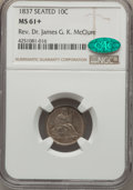 Seated Dimes, 1837 10C No Stars, Large Date, F-101b, R.2, MS61+ NGC. CAC....