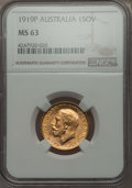 Australia, Australia: George V gold Sovereign 1919-P MS63 NGC,...