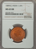 India:British India, India: British India. Victoria 1/4 Anna 1889(c) MS65 Red and Brown NGC,...