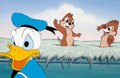 Animation Art:Production Cel, Donald Duck and Chip and Dale Production Cel Setupand Terrytoons Production Background (Walt Disney/Terry...