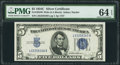 Fr. 1653 $5 1934C Wide Silver Certificate. PMG Choice Uncirculated 64 EPQ