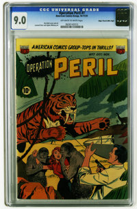 Operation Peril #7 Mile High pedigree (ACG, 1951) CGC VF/NM 9.0 Off-white to white pages. Ken Bald cover. Art by Bald, L...