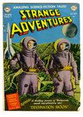 "Golden Age (1938-1955):Science Fiction, Strange Adventures #1 (DC, 1950) Condition: FR/GD. Adaptation of""Destination Moon,"" along with a photo cover. H. G. Wells f..."