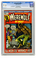 Bronze Age (1970-1979):Horror, Werewolf by Night #1 (Marvel, 1972) CGC VF- 7.5 Off-white to whitepages. Story continued from Marvel Spotlight #4. Mike...