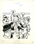 Original Comic Art:Covers, Paul Fung Jr. (attributed) - Dagwood Cover Original Art (Harvey,undated). Dagwood is cutting it close on his bus ride into ...