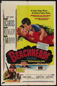 """Beachhead (United Artists, 1954). One Sheet (27"""" X 41""""). Tony Curtis and Frank Lovejoy play the only U.S. surv..."""