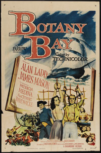 "Botany Bay (Paramount, 1953). One Sheet (27"" X 41""). Imprisoned falsely, medical student Hugh Tallant (Alan La..."