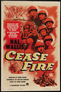 """Cease Fire! (Paramount, 1953). One Sheet (27"""" X 41""""). Documentary filmmaker Owen Crump used real soldiers, on..."""