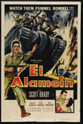 "Movie Posters:War, El Alaméin (Columbia, 1953). One Sheet (27"" X 41""). A war profiteernamed Banning (Scott Brady) finds himself in the middle ..."