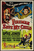 """Movie Posters:Comedy, Fireman, Save My Child (Universal, 1954). One Sheet (27"""" X 41""""). Originally written for Abbott and Costello, the comedy team..."""