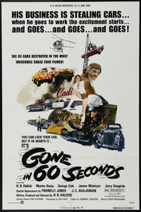 """Gone in 60 Seconds (New City Releasing, 1974). One Sheet (27"""" X 41""""). Insurance investigator Maindrian Pace an..."""