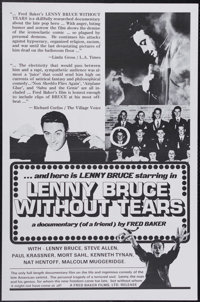 "Lenny Bruce Without Tears (Fred Baker Films, 1972). One Sheet (27"" X 41""). Lenny Bruce was the cutting edge of..."