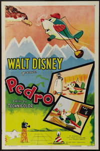 """Pedro (RKO, R-1955). One Sheet (27"""" X 41""""). This Disney classic tells the story of a young airplane's curiosit..."""