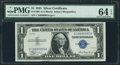 Fr. 1607 $1 1935 Silver Certificate. PMG Choice Uncirculated 64 EPQ