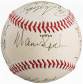Baseball Collectibles:Balls, 1980's Old-Timers' Day Multi-Signed Baseball. ...