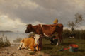 Fine Art - Painting, American:Antique  (Pre 1900), William Starkenborgh (American, 19th Century). Cattle and DairyMaid, 1871. Oil on canvas. 20 x 30 inches (50.8 x 76.2 c...