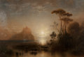 Fine Art - Painting, European:Antique  (Pre 1900), Karl Heilmayer (German, 1829-1908). Moonlit Bay with a CastleAtop an Island in the Distance, 1878. Oil on canvas. 26-1/...