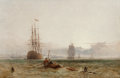 Fine Art - Painting, European:Antique  (Pre 1900), Henry Dawson (British, 1811-1878). Frigates and other shippingoff shore in a light breeze. Oil on canvas. 16-1/8 x 24 i...