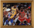 Basketball Collectibles:Photos, Magic Johnson Signed Canvas Display....