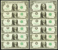 Complete District Star Set Fr. 1900-A*-L* $1 1963 Federal Reserve Star Notes. Choice Crisp Uncirculated or Better