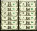 Small Size:Federal Reserve Notes, Complete District Set Fr. 1911-A-L $1 1981 Federal Reserve Notes Choice Crisp Uncirculated or Better.. ... (Total: 12 notes)