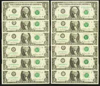 Complete District Set Fr. 1911-A-L $1 1981 Federal Reserve Notes Choice Crisp Uncirculated or Better