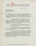 Memorabilia:Production Materials, Song of the South Elmer Plummer Signed Contract (Walt Disney, 1944)....