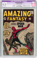 Silver Age (1956-1969):Superhero, Amazing Fantasy #15 (Marvel, 1962) CGC Apparent VG 4.0 Moderate (B-3) Off-white to white pages....