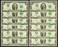 Small Size:Federal Reserve Notes, Complete District Set Fr. 1935-A-L $2 1976 Federal Reserve Notes Choice Crisp Uncirculated or Better.. ... (Total: 12 notes)