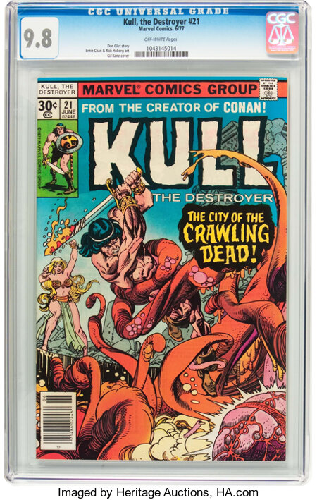 Kull the Destroyer #21 (Marvel, 1977) CGC NM/MT 9.8 Off-white pages....