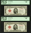 Small Size:Legal Tender Notes, Fr. 1530 $5 1928E Legal Tender Notes. Two Consecutive Examples. PCGS Choice About New 58.. ... (Total: 2 notes)