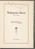 Books:Literature Pre-1900, Mrs. D. C. Dodge. Shakespeare--Bacon. Denver, Colorado: [TheWahlgreen Publishing], 1916....