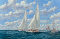 Paintings, John Sutton (British, b. 1935). Endeavour and Rainbow Neck and Neck, The America's Cup 1934. Oil on canvas. 28 x 42 ...