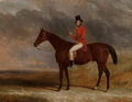 Fine Art - Painting, European:Antique  (Pre 1900), Charles Hancock (British, 1802-1877). Gentleman on his hunter ina landscape, 1844. Oil on canvas. 34-1/2 x 44 inches (8...