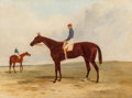 Fine Art - Painting, European:Modern  (1900 1949)  , Harry Hall (British, 1838-1886). Mr. John Gully's Andover,Alfred Day up, winner of the 1854 Derby. Oil on canvas. 23 x...