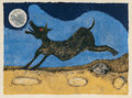 Fine Art - Work on Paper:Print, Rufino Tamayo (Mexican, 1899-1991). Perro ladrándole a laluna, 1988. Lithograph in colors on handmade paper. 25-1/4 x3...