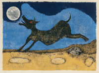Rufino Tamayo (Mexican, 1899-1991) Perro ladrándole a la luna, 1988 Lithograph in colors on handmade