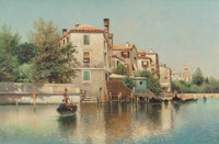 Henry Pember Smith (American, 1854-1907) On the Canal Oil on canvas 20-1/4 x 30 inches (51.4 x 76
