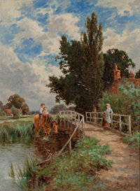 Henry H. Parker (British, 1858-1930) Figures by a Country Bridge Oil on canvas 24 x 18 inches (61