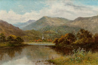 Henry H. Parker (British, 1858-1930) Near Lake Windemere Oil on canvas 19-3/4 x 30 inches (50.2 x