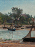 Fine Art - Painting, European:Antique  (Pre 1900), Georges de Dramard (French, 1839-1900). Boats Moored in VillageEstuary. Oil on canvas. 27-1/2 x 21-1/2 inches (69.9 x 5...