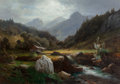 Fine Art - Painting, European:Antique  (Pre 1900), Rudolph Poeppel (German, 1823-1889). An Alpine Landscape withCattle Grazing, 1873. Oil on canvas. 30-1/4 x 43-1/2 inche...
