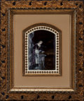 Decorative Arts, French:Other , A Framed French Limoges Enamel on Copper Plaque: Woman atDusk,19th century. Marks to plaque: FR. 5-1/2 inchesh...